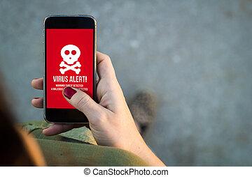 vrouw het lopen, smartphone, virus