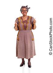 vrouw, het opgeven, bejaarden, duimen, afrikaan