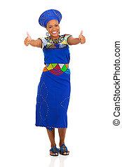 vrouw, het opgeven, twee, duimen, afrikaan
