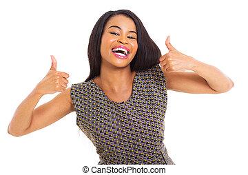 vrouw, het opgeven, vrolijk, amerikaan, duimen, afrikaan