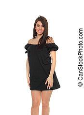 vrouw, het poseren, black , sensuality, volwassene, verticaal, jurkje, mooi