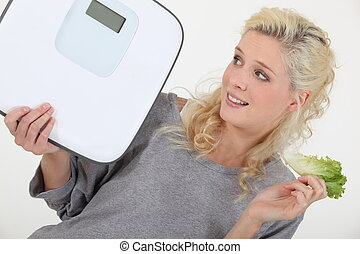 vrouw, het proberen, gewicht, verliezen