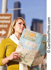 vrouw, het reizen