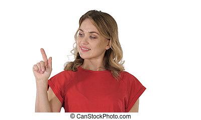 vrouw het richten, jonge, hand, achtergrond., vinger, wite kaukasiër, bovenkant