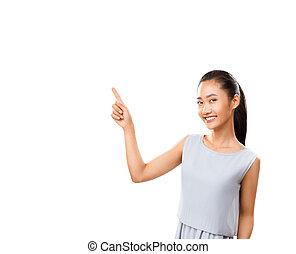 vrouw het richten, ruimte, vrijstaand, aziaat, witte , kopie, vinger
