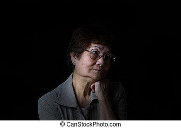 vrouw, het rusten, hoofd, black , terneergeslagen, ...