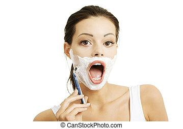 vrouw, het scheren, jonge, gezicht, haar, mooi
