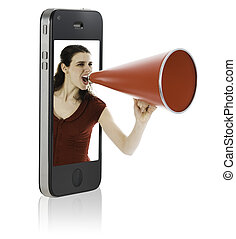 vrouw, het schreeuwen, in, megafoon