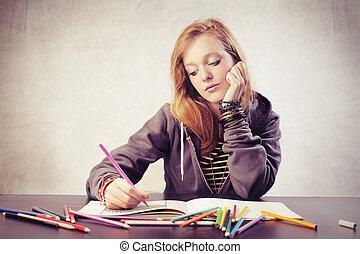 vrouw het schrijven