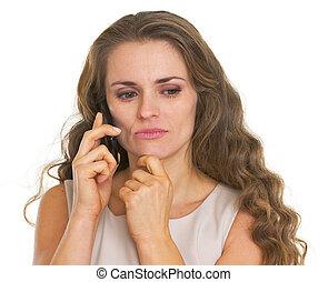 vrouw het spreken, betrokken, jonge, mobiele telefoon