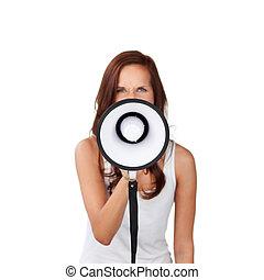 vrouw, het spreken, in, een, megafoon