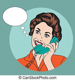 vrouw het spreken, telefoon, popart, retro, komisch