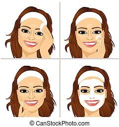 vrouw, het tonen, gezicht, vier, stappen, poetsen