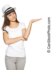 vrouw, het tonen, open hand, palm
