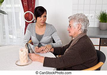 vrouw, het troosten, na, death., trauerbegleitun, weduwe