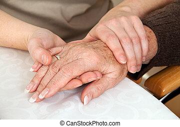 vrouw, het troosten, rouw, death., counseling., weduwe