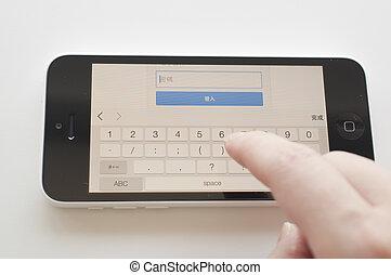 vrouw, het typen, de, wachtwoord, voor, gmail, rekening, login, op, iphone, 5c.