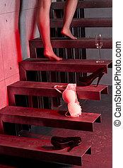 vrouw, het uitgaan, de, trap, thuis