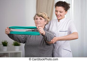 vrouw, het uitoefenen, bejaarden