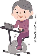 vrouw, het uitoefenen, fietsen, fitness, senior, stationair, stand