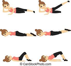 vrouw, het uitoefenen, fitness
