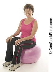 vrouw, het uitoefenen, kern, opleiding, fitheid bal