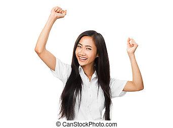 vrouw, het verheugen zich, dancing, jonge, oosters, achtergrond, witte , of, vrolijke