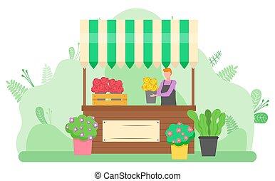 vrouw, het verkopen, straat, vector, boeketten, bloemen