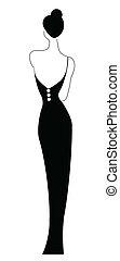 vrouw, het voeren zwart, jurkje
