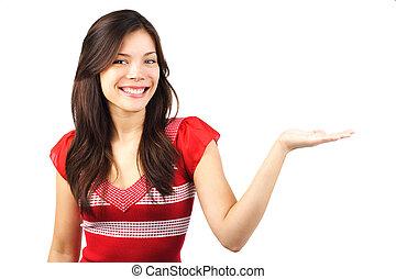 vrouw, het voorstellen, met, open hand