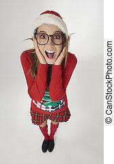 vrouw, hoedje, geshockeerde, kerstman