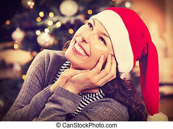 vrouw, hoedje, kerstmis, kerstman