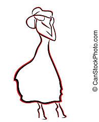 vrouw, hoedje, romantische