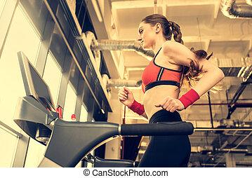 vrouw, Hoek, Sportief,  Gym, het uitoefenen, jonge, laag, tredmolen, aanzicht