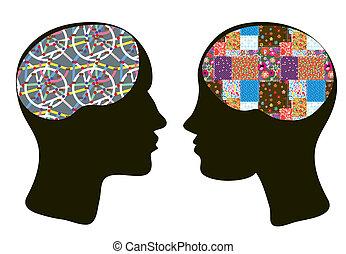 vrouw hoofdbreken, hersenen, -, psychologie, concept, (be)...