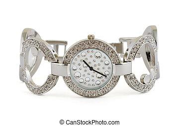 vrouw, horloge, luxe