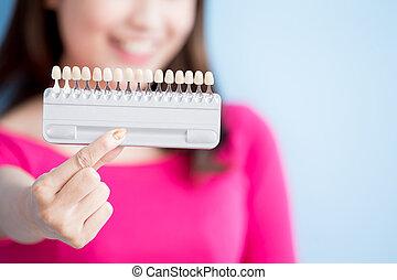 vrouw, houden, teeth, whitening, werktuig