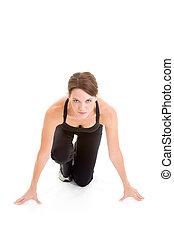 vrouw, hurken, vrijstaand, gereed, renners, sprint