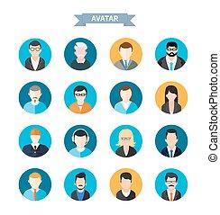 vrouw, iconen, avatars, set, modieus, man