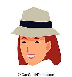 vrouw, illustratie, gezicht, vector, het glimlachen, hoedje, spotprent