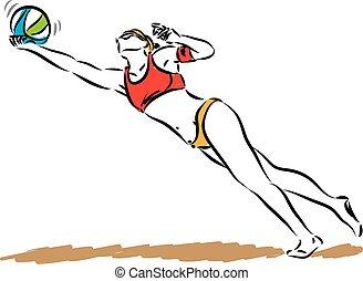 vrouw, illustratie, speler, vector, salvo, strand