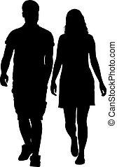 vrouw, illustratie, stellen, achtergrond., silhouettes, vector, witte , man