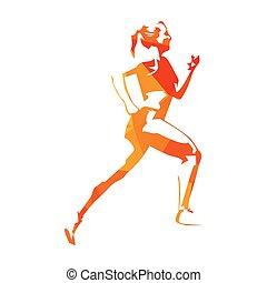 vrouw, illustration., mensen, abstract, sportende, sinaasappel, rennende , vector, actief, uitvoeren