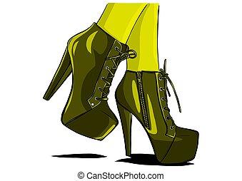vrouw, illustrator, laarzen, vector, sexy, benen