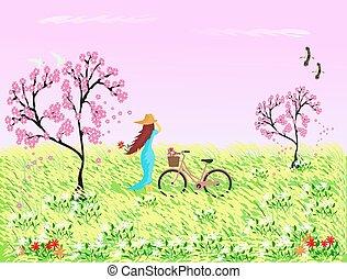 vrouw, in, blauwe , rok, het dragen van een hoed, met, een, fiets, staand, in, een, akker, met, riet, bloemen, en, sakura, boompje, de, roze hemel, als, de, achtergrond.