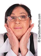 vrouw, in, bril, gezicht, close-up