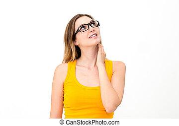 vrouw, in, bril, kijkend