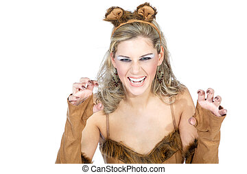 vrouw, in, carnaval, kostuum