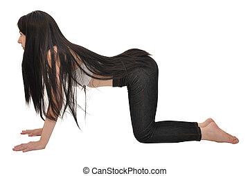 vrouw ruggegraat vrijstaand anatomie posterior