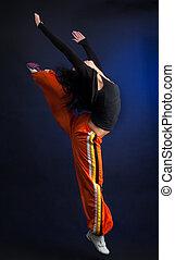 vrouw, in, dans beweging